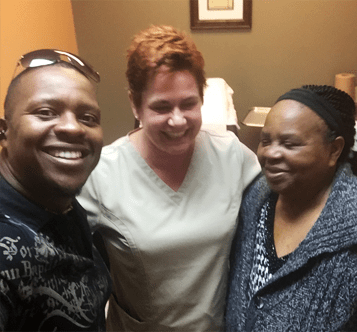 Patient's son, Dr. MIltenburg and Patient from Nigeria after mastectomy, September 2018